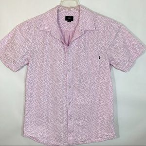 Obey Pink White Button Down Short Sleeve Shirt  M